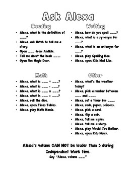 photograph about Printable List of Alexa Commands known as Question Alexa - Amazon Echo Voice Instructions