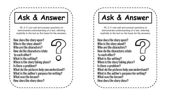 Ask & Answer Anchor Chart for Interactive Notebook