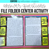 Ask & Answer Question by Paragraph File Folder Centers