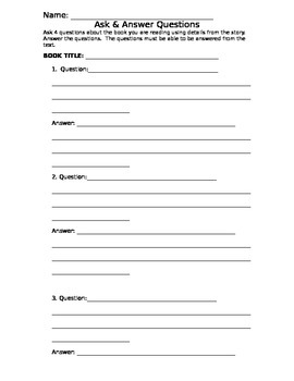 Ask & Answer Questions Quiz/Worksheet- CCSS aligned RL.3.1