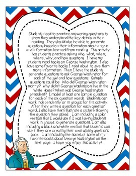 Ask George Washington-A 5Ws and How Questioning Activity {CCSS RL.2.1}