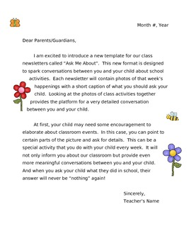 Ask Me About - Letter to Parents (w/ Clipart)