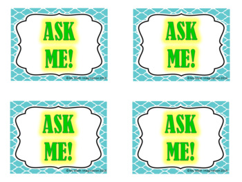Ask Me! Badges - Great to use in math, reading, science & social studies classes