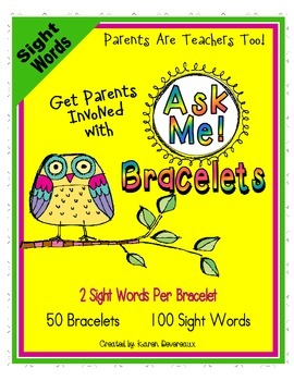 Ask Me! Bracelets - SIGHT WORDS - Get Parents Involved! - Owl Theme