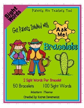 Ask Me! Bracelets - SIGHT WORDS - Get Parents Involved!  - Western Theme