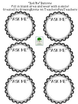 """Ask Me"" Button FREEBIE"