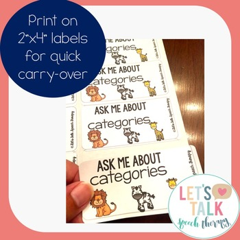 Ask Me Target Tags--Language Carryover Tags for Speech Therapy
