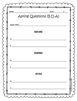 Ask Questions Before, During, After Reading Graphic Organizer (Asking Questions)