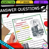 Ask and Answer Questions - 1st Grade RI.1.1 - Printable & Digital
