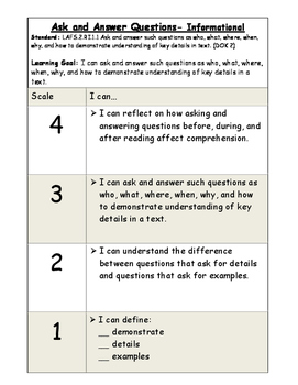 Ask and Answer Questions Informational Marzano Scale (RI.2