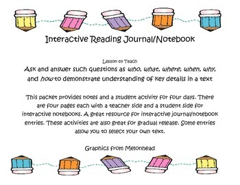 Ask and Answer Questions Interactive Notebook/Journal