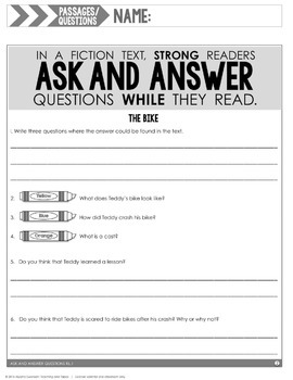 Ask and Answer Questions (RL.2.1 and RL.3.1)