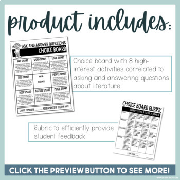 Ask and Answer Questions Choice Board with Multiple Intelligence Activities