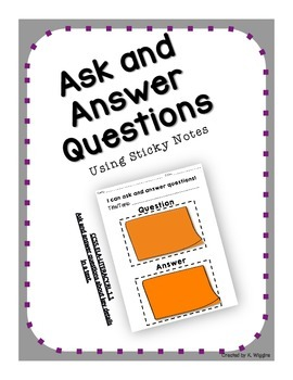 Ask and Answer Questions Sticky Note-taking Sheet CCSS.ELA-LITERACY.RL.1.1