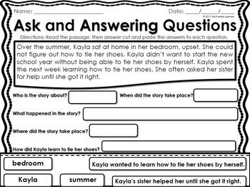 Ask and Answering Questions Worksheets (Cut and paste Optional)