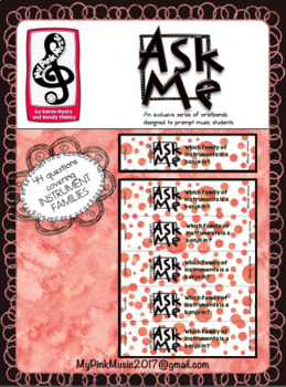 Ask me MUSIC Wristbands: 44 Instruments & their families  (FREEBIE in preview)