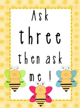 Ask three then ask me Poster Bee Theme