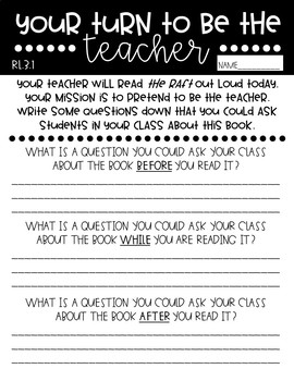 *FREEBIE* Asking & Answering Questions Be the Teacher Worksheet