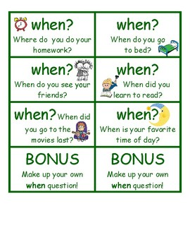 Asking & Answering Questions Word Cards: Partner Game