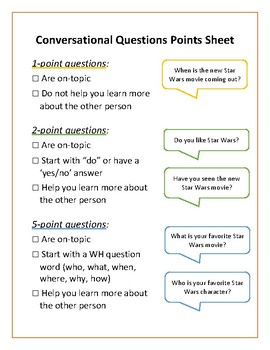 Asking Conversational Questions - Points Sheet for Social Skill-Building