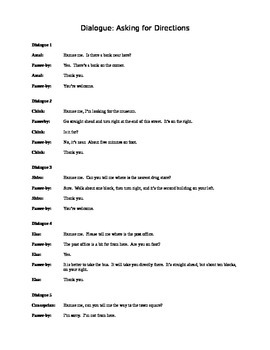 Asking For Directions Lesson Plan + Dialogue
