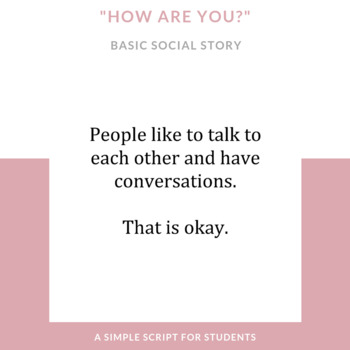 "Asking ""How Are You?"": Social Story"
