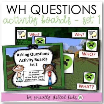 """Wh"" Questions Activity Boards~ Set 1"