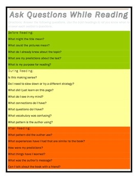 Asking Questions: Before, During, and After Reading (Guiding Questions)