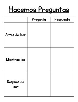 Asking Questions For Guided Reading - Spanish
