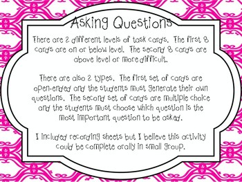 Asking Questions (Questioning) Task Cards (R.L 1.1, R.L 2.1, R.L 3.1)