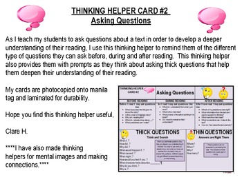 Asking Questions Student Prompt Card