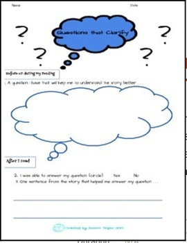 Asking Questions to Clarify Student Response Sheets 3-pack,Common Core Aligned