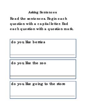 Asking Sentences Write Capital Letter Question Mark Journal Supplement 3pgs