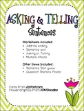Asking & Telling Sentences Packet