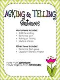 Asking & Telling Sentences Packet