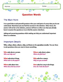 Asking and Answering Questions About Text - Kindergarten Lesson