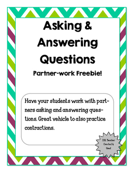 Asking and Answering Questions FREEBIE