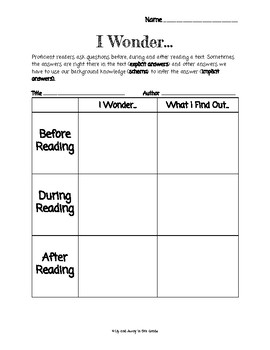 Asking and Answering Questions Graphic Organizer