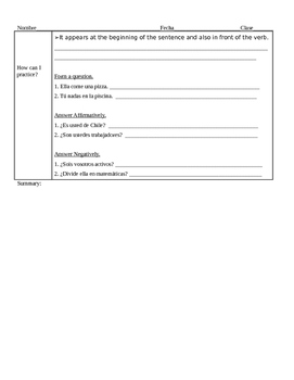 Asking and Answering questions in Spanish Guided Notes