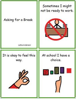 Asking for a Break Visual Helper Social Story Plus 8 other Stories Autism