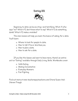 """DLS Mini-Lesson """"Asking for a Date"""" from Safe Dating Workbook"""