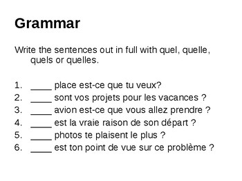 """Asking questions with """"quel"""""""