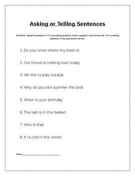 Asking versus Telling Sentences
