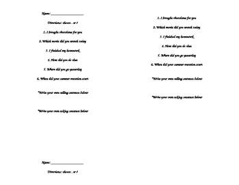 Asking/Telling Sentences Assessment