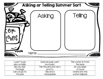 Asking/Telling Summer Sentence Sort