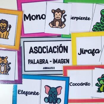 Asociación palabra-imagen. Animales salvajes.