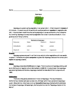 Asparagus - all the facts - review questions vocabulary word search