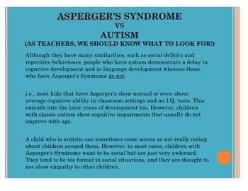 Asperger's Syndrome in the Classroom - For Teachers