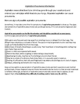 Aspiration Pneumonia Information Handout