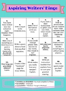 Aspiring Writers' Bingo